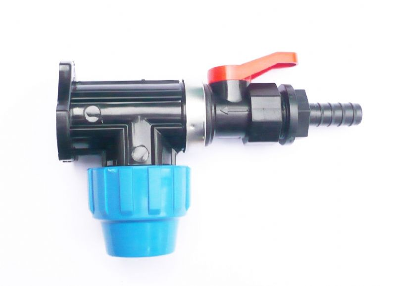 "MDPE Wall Plate Elbow (25mm) to On/Off Valve & 1/2"" (13 mm) Hose Tail"